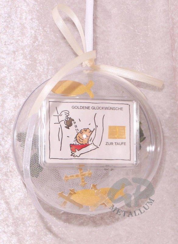 2g Goldbarren zur Taufe mit Zertifikat: Acrylglaskugel dekoriert in Handarbeit Durchmesser 12 cm mit einem Satinband zum Aufhängen, in der Länge änderbar, mit einem Fisch aus künstlichem Buchsbaum und Streudeko: Kreuze & Fische für den Innenbereich kombiniert  http://www.gp-metallum.de/2-Gramm-Gold-Geschenkbarren-Motiv-Zur-Taufe-in-dekorierter-Acrylglaskugel https://plus.google.com/111577098202131690985/posts/dJvyMpFcVws