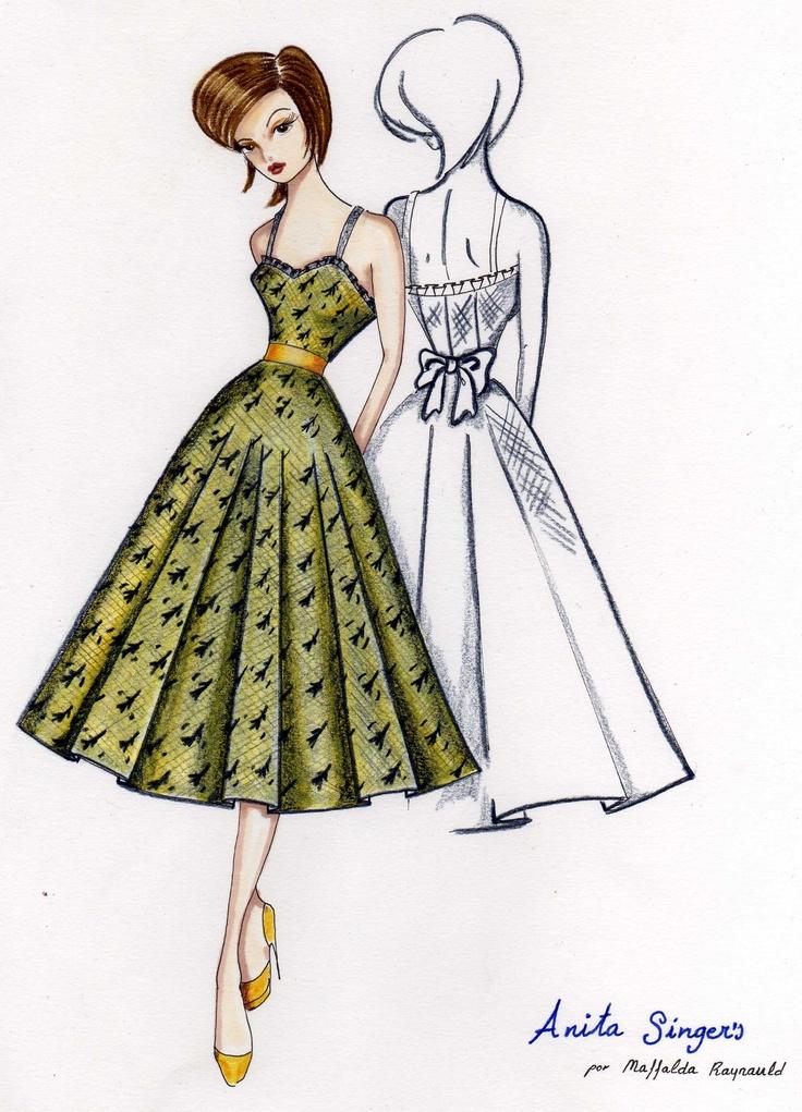 Ilustración Vestido Pequeña Carmen. http://www.facebook.com/pages/Anita-Singers/565541916806170