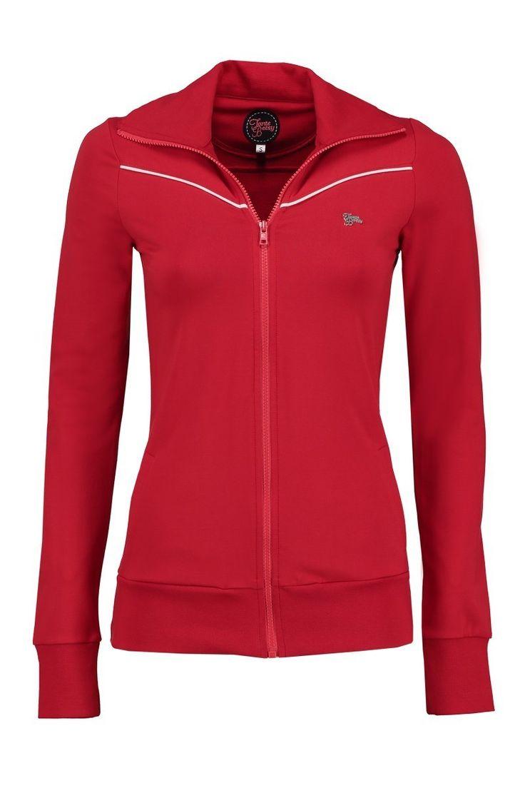 Tante Betsy vera sporty vest jacket red 1970s vintage look sportieve vest rood jaren 70 stijl