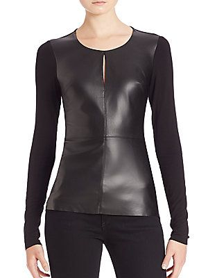 Bailey 44 Nico Mixed-Media Faux-Leather Top