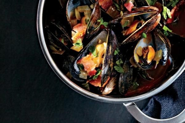 Wine and Bacon Steamed Mussels