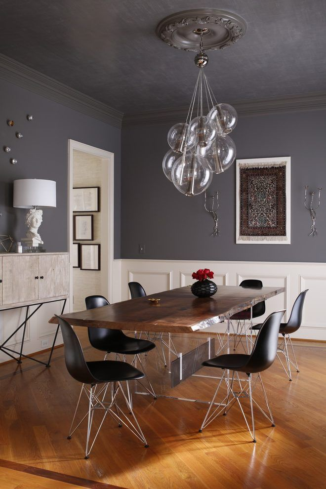 Dark gray dining table dining room contemporary with ceiling medallion white beadboard gray ceiling