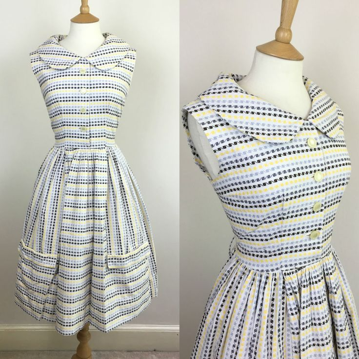 1950s dress with pockets on the skirt...size UK 12