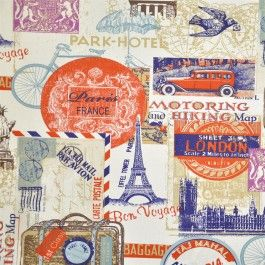 Around the World Multi drapery fabric by Ashley Wilde #charlesparsonsinteriors #fabric #material #curtains #drapery #cushions #travel #print #paris #london #visa #stamp #france #ashleywilde