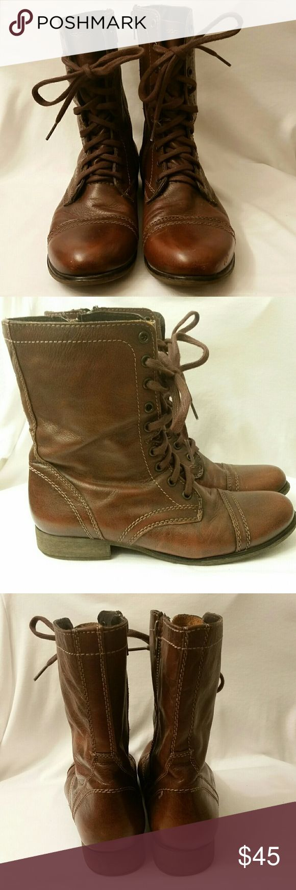 Steve Madden Combat Boots I have these gorgeous Steve Madden combat boots for sale in excellent condition. sz 9 rich brown color. There are a few stiches missing (see picture) Steve Madden Shoes