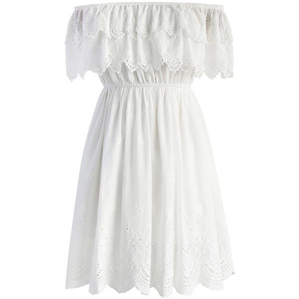 Chicwish Fall for a Lace Off-shoulder Dress ($53) ❤ liked on Polyvore featuring dresses, white, boho dresses, boho lace dress, off-the-shoulder lace dresses, off the shoulder dress and lace dress
