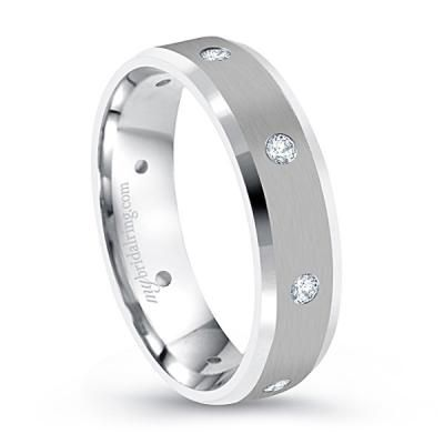 Multi-Stone Engagement Band In 14K White Gold