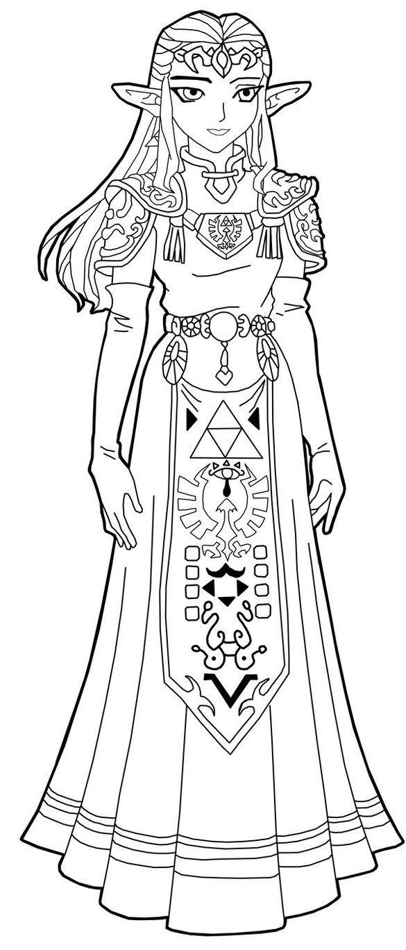 Zelda twilight princess coloring pages - Princess Zelda Line Art By Frozen Phoenix