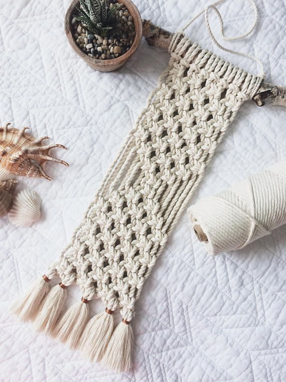 ► D E S C R I P T I O N Instantly add an eclectic touch to your space with this stunning wall hanging. This gorgeous handcrafted macramé wall hanging is made with 100% unbleached cotton cord, that is Canadian sourced. ► D I M E N S I O N S This macramé wall hanging measures
