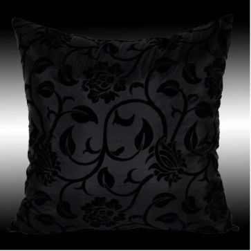 Black pillow. Bedroom.