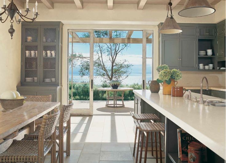 Love itDecor, Dining Room, Dreams Kitchens, Cabinets Colors, The View, House, Open Kitchens, Glasses Doors, Sliding Doors