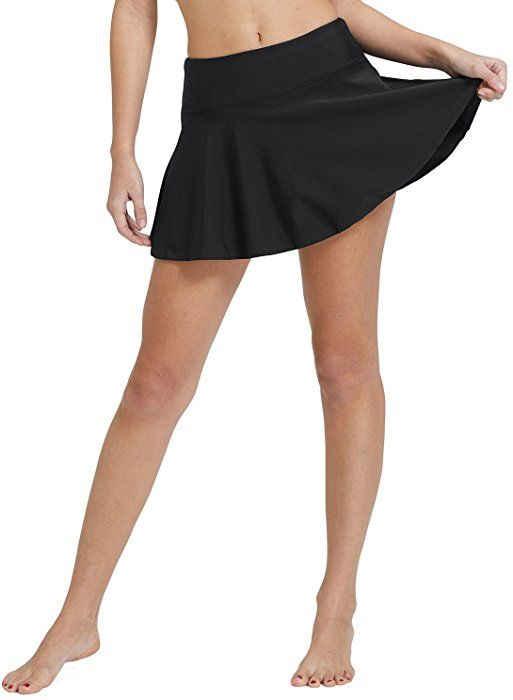 c8a9fd45ce Amazon.com: Baleaf Women's Swimsuit High Waisted Flounce Skirted Bikini  Tankini Bottom Swim Skirt Black Size XL: Clothing