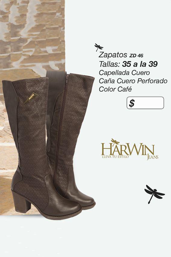 Botas con capellada en cuero y caña de cuero perforado Referenia: ZD46 Tallas: 35 a la 39 Color: Café Precio: $115.000