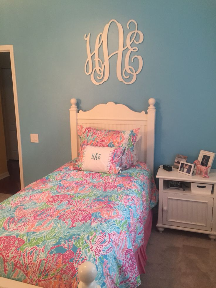 lilly Pulitzer bedding and a wall monogram Lilly