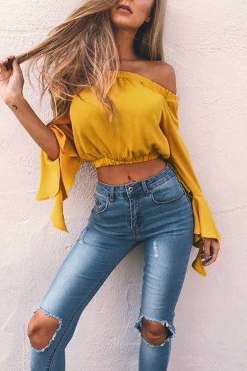 GET 15% OFF BY 【pin15】^^^^^^Classic top by Yoins! This cute long flared sleeve crop top features an off the shoulder design and elastic neckline to add a flirty element to an otherwise basic top! Pair with high waisted denim jeans and some heels for a night out on the town. - Fashion style - Off the shouder - Elastic neckline - Long flared sleeves - Crop length