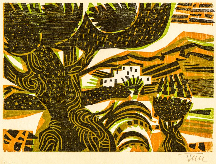 Alfred Pohl Colombian Landscape Woodcut Printmaking Color Tree Art