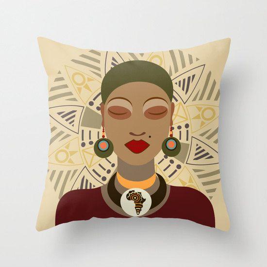 african pillow african queen decor pillow afrocentric decorative throw pillow african home decor african woman - Woman Home Decorating