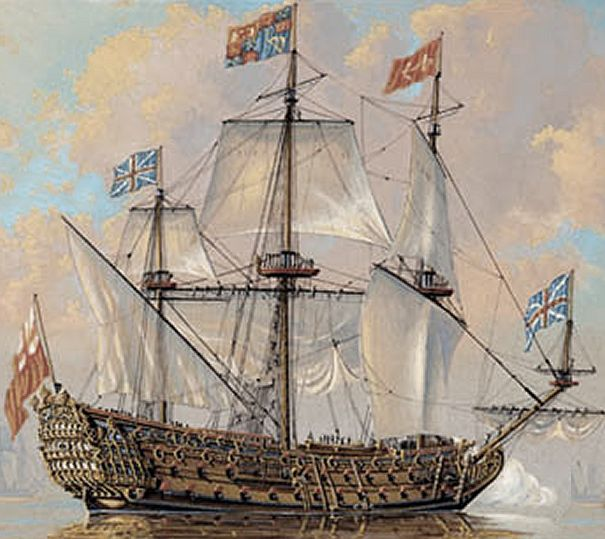 HMS Royal Charles was a 100-gun first-rate ship of the line of the Royal Navy, designed and built by Sir Anthony Deane at Portsmouth Dockyard, where she was launched and completed by his successor as Master Shipwright, Daniel Furzer, in March 1673. She was one of only three Royal Navy ships to be equipped with the Rupertinoe naval gun.  She was rebuilt at Woolwich Dockyard between 1691 and 1693, and renamed HMS Queen.