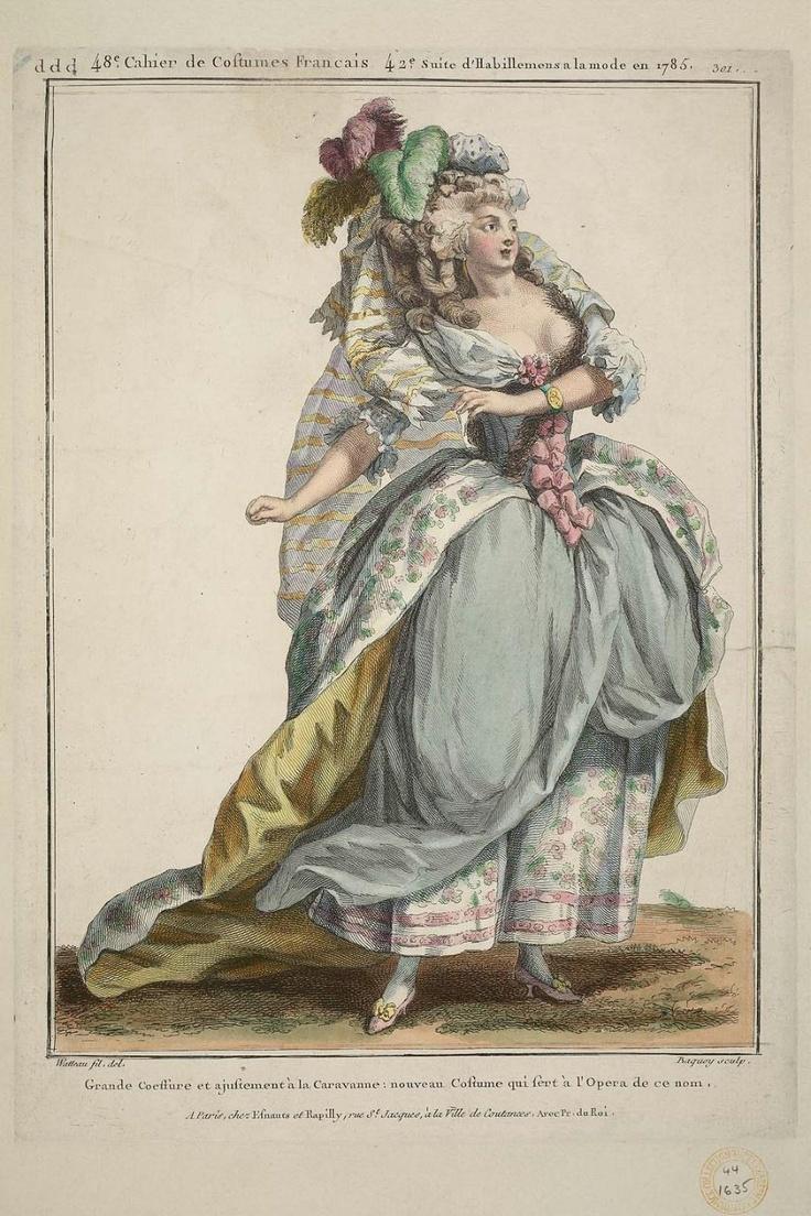 """Gallerie des Modes et Costumes Français. 48e Cahier de Costumes Français, 42e Suite d'Habillemens à la mode en 1785. ddd.301 """"Grande Coeffure et ajustement...""""  aris, France  DIMENSIONS  38.7 x 25.4 cm (15 1/4 x 10 in.)  MEDIUM OR TECHNIQUE  Hand-colored engraving on laid paper  CLASSIFICATION  Prints  ACCESSION NUMBER  44.1635"""