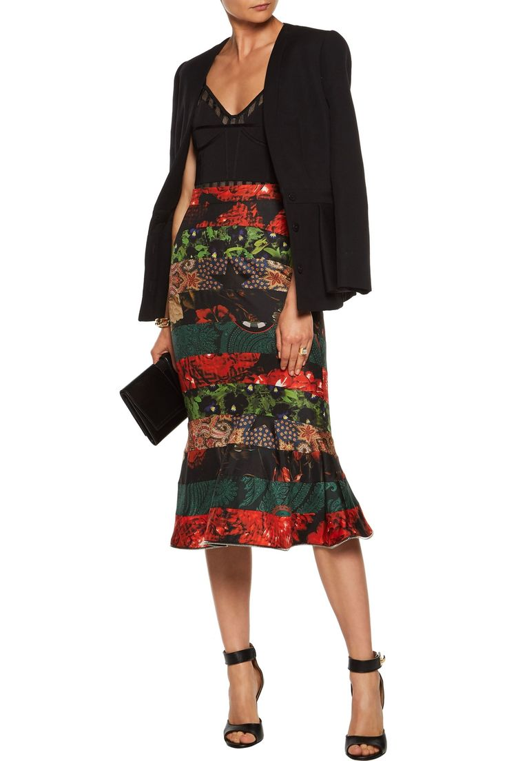 Zip-embellished paneled printed silk-satin twill skirt | GIVENCHY | Sale up to 70% off | THE OUTNET