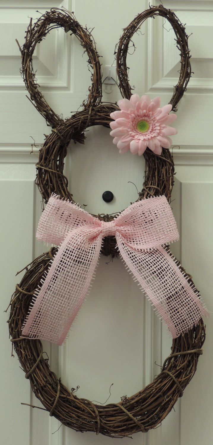 Pink Grapevine Bunny Wreath Easter wreath Paper mesh flower Bow Spring Wreath Grapevine Rabit Wreath Door hanger Wall Easter Ornament