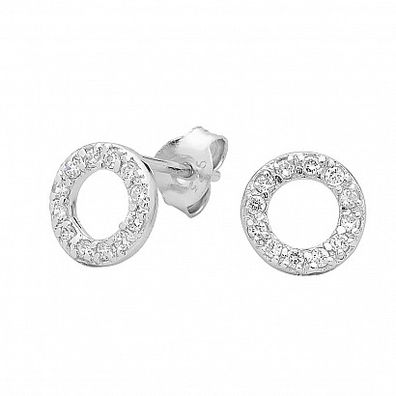 Silver and Some - Georgini Earrings, Baby Circle CZ Studs $79.00