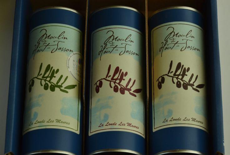 Coffret découverte des 3 catégories de fruité. 1 fruité vert, 1 fruité mûr, 1 fruité noir. L'huile d'olive au moulin du Haut Jasson à La Londe Les Maures. MoulinDuHautJasson.com