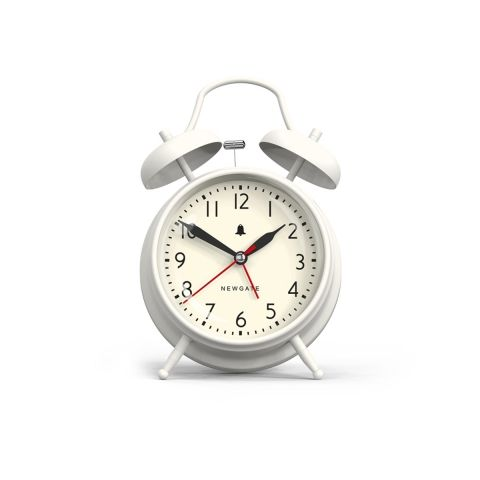 the new covent garden alarm clock in linen white by newgate clocks iconic british design