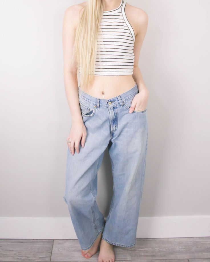 Vintage (LARGE) Levis 569 Cropped High Waisted Denim Jeans