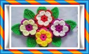 Tığ işi Yapraklı Çiçek Modeli
