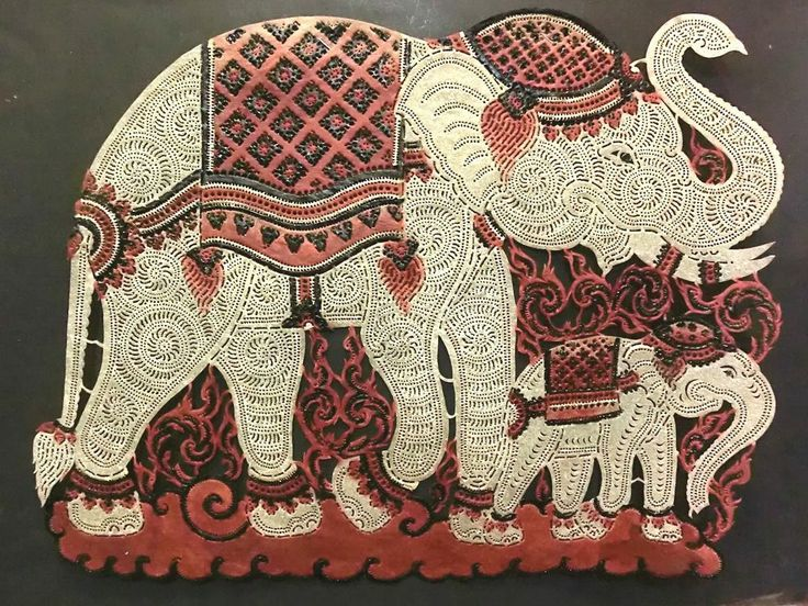 Leather Embossed Craft Art King Elephant Family Wall
