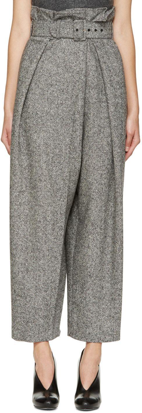 Stella McCartney Black & White Tweed Gathered Trousers | SSENSE
