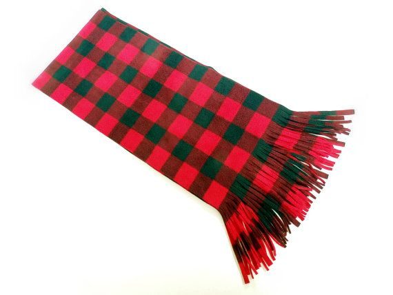 Red Buffalo Plaid Scarf Red Plaid Fleece Scarf by brefney on Etsy