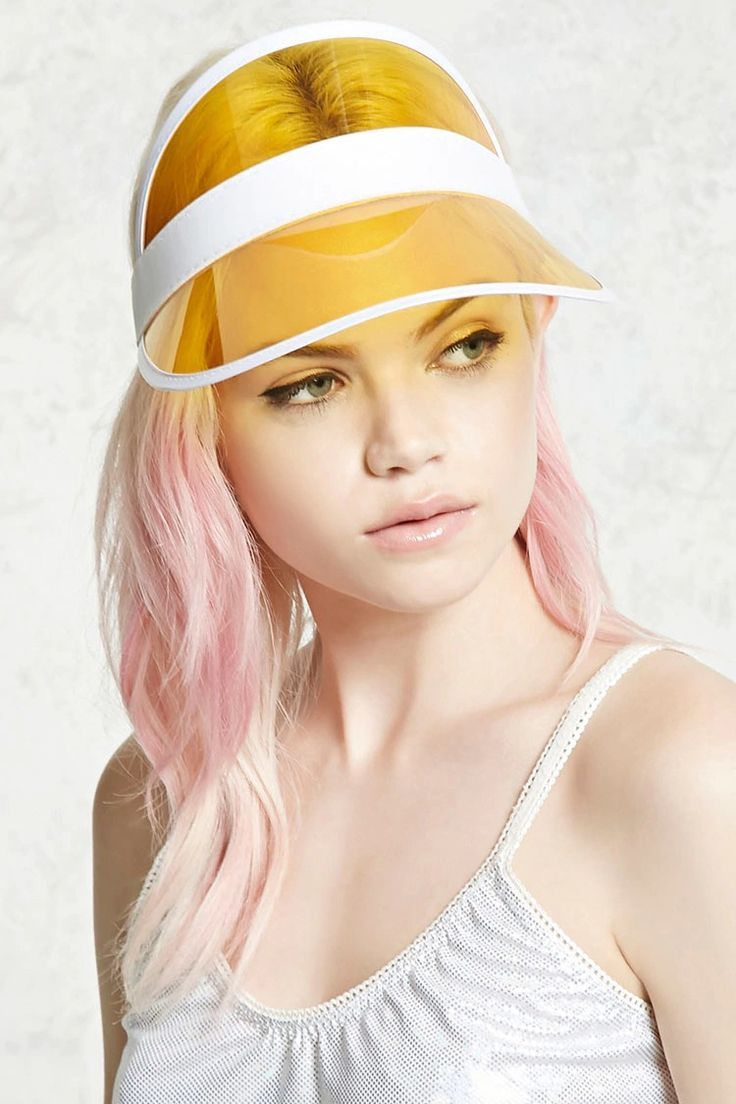 A visor featuring a translucent brim and an elasticized ribbon band.