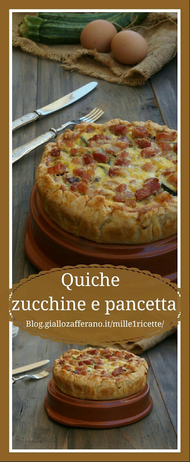 Torta salata ripiena di zucchine e pancetta  Buonissima assaggia http://blog.giallozafferano.it/mille1ricette/quiche-zucchine-pancetta/