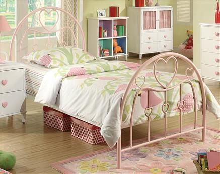 Juliette Transitional Pink Metal Twin Bed w/Bed Frame