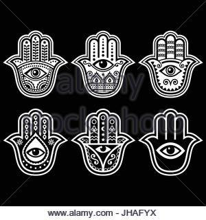 Hamsa hand, Hand of Fatima - amulet, symbol of protection from devil eye on black   Hamsa, Hand of Fatima - symbol - Stock Photo