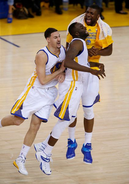 Description of . Golden State Warriors\' Klay Thompson (11) and Golden State Warriors\' Draymond Green (23) celebrate Thompson\'s 3-point basket against the Memphis Grizzlies in the second quarter of Game 5 of the NBA Western Conference semifinals at Oracle Arena in Oakland, Calif., on Wednesday, May 13, 2015.  (Nhat V. Meyer/Bay Area News Group)