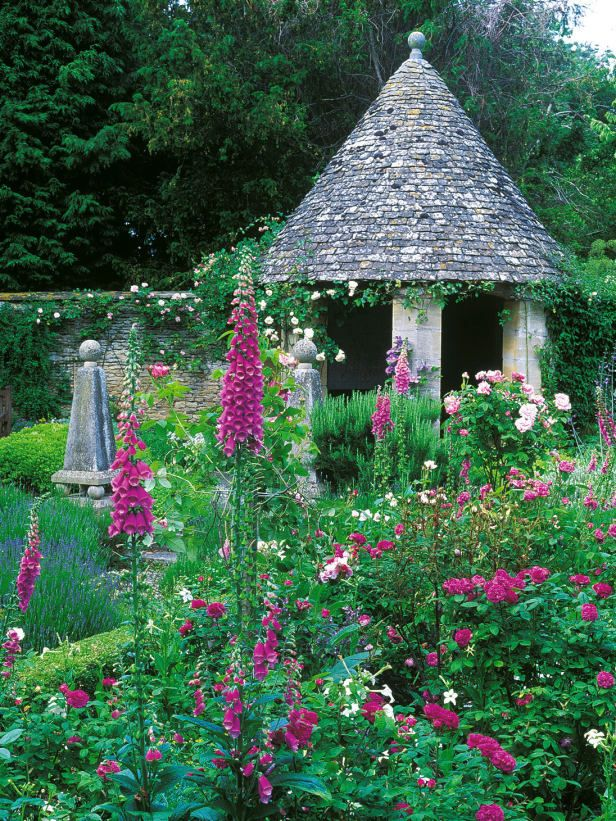 ENGLISH COTTAGE GARDEN IN PINKS;  Showcasing foxglove, nicotiana, Dalhias and climbing roses.