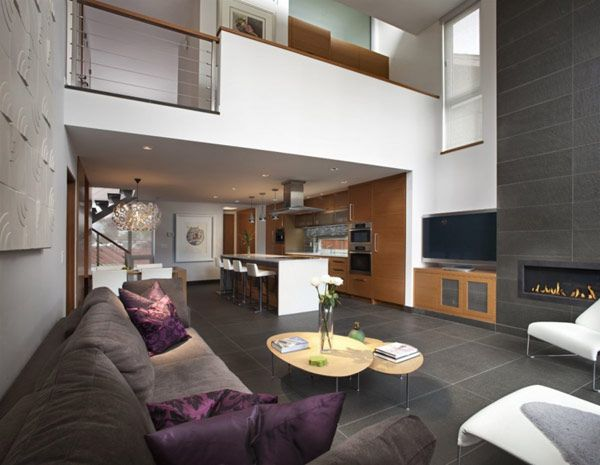 Cozy Geometry Architecture House Interior Open Plan Floor Interior Design - Bedhomes