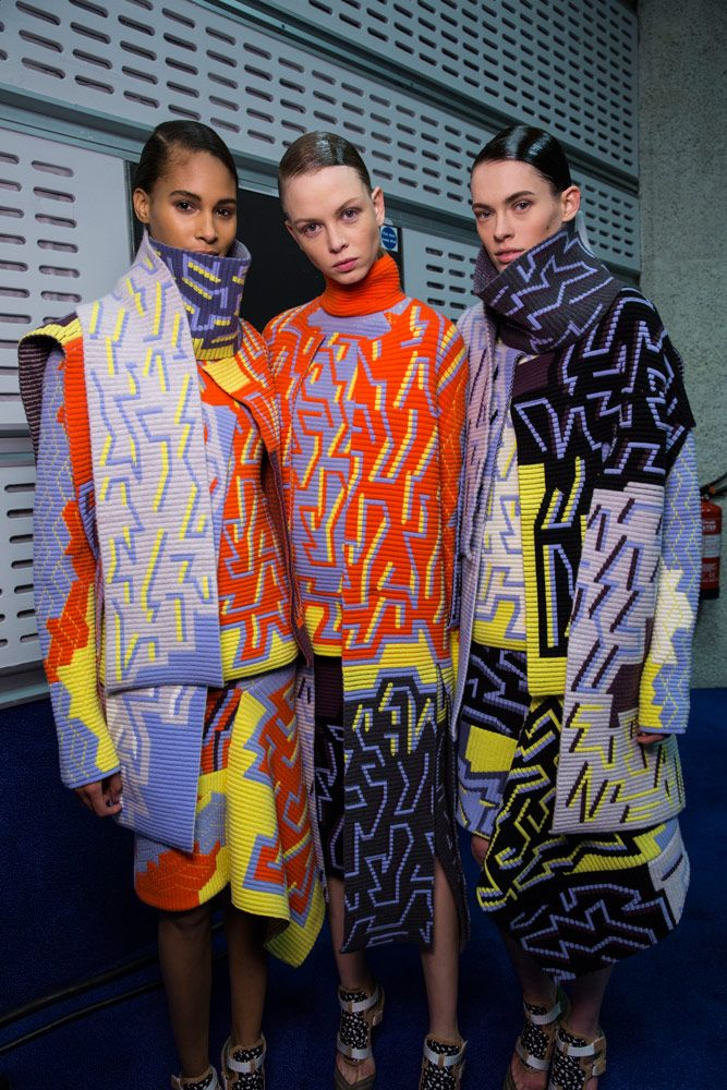 The contrast of a geometric print with the soft fabric of knitwear is innovative. Here the use of colour is very inspiring. This designer has used contrasting colour blocking. Clashing geometric knits backstage at Peter Pilotto for AW14 #LFW #BestofBackstage http://whitewallmag.com/fashion/a-sensory-feast-at-peter-pilotto-during-london-fashion-week