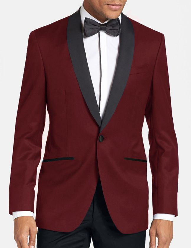 This burgundy tuxedo jacket has a modern fit and contrasting black shawl collar