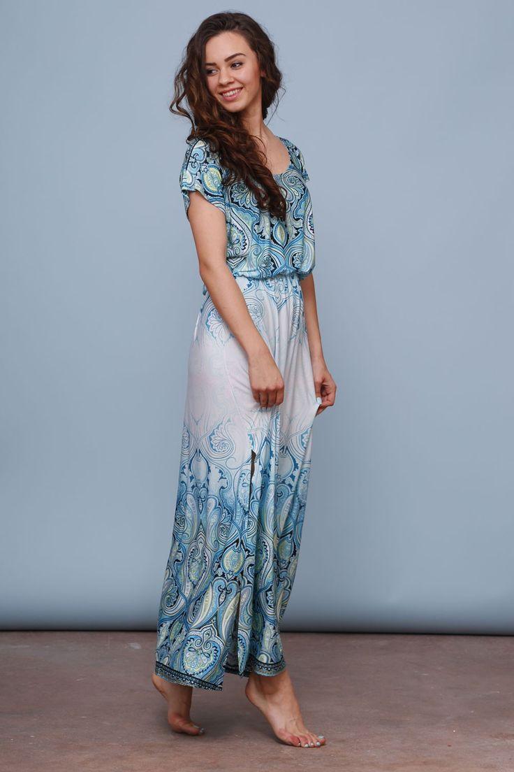 Letnia sukienka maxi - orient turkus