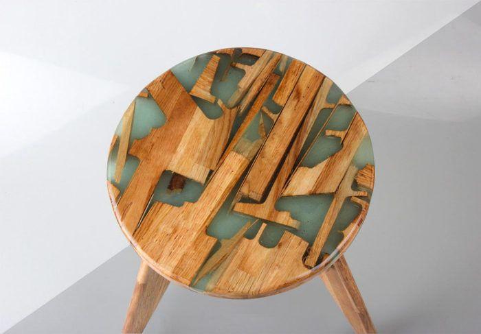 Zero Per Stool: Estúdio de design utiliza restos de madeira e resina para criar novos móveis sem desperdício - Follow the Colours