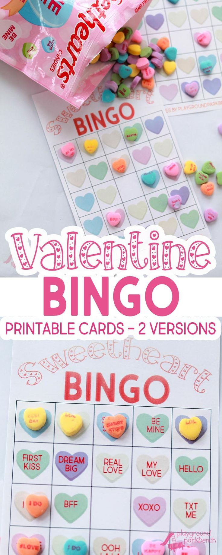 Our Valentine Bingo game printable features 2 different sets of 20 unique game cards. Play the colored hearts version with at your preschool Valentine's Day party, or opt for the conversation heart phrase version for your early readers | Party Games | Val