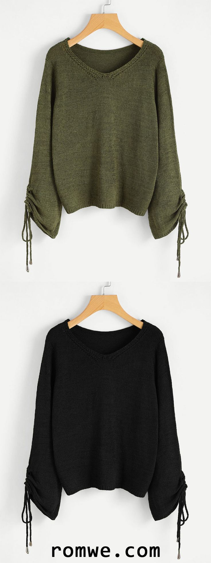 V-Neckline Shirred Sleeve Sweater