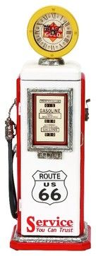 Vintage Gas Pump Wood Clock White Red Design Route 66 Sign Decor 49767 contemporary-floor-and-grandfather-clocks