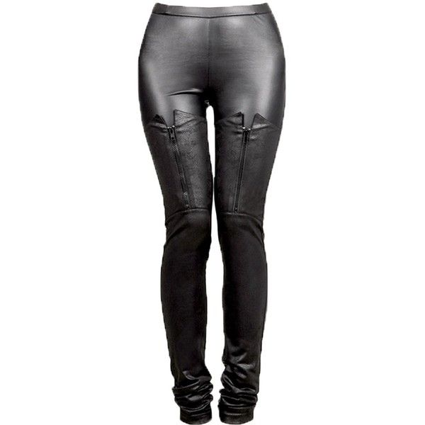 PunkRave Gothic Womens Faux Leather Sexy Leggings Stretchy Pants ($39) ❤ liked on Polyvore featuring pants, faux leather trousers, gothic trousers, stretch faux leather pants, goth pants and gothic pants