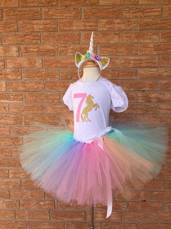 068096bd2b 7th unicorn birthday outfit, 7th Birthday tutu, rainbow unicorn, Birthday,  7 years old shirt, girls outfit, birthday set, seventh birthday