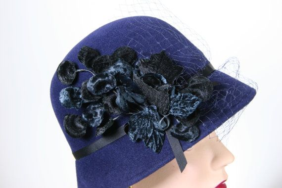 Navy Blue Women's Cloche Hat  Fur Felt Winter by MakowskyMillinery